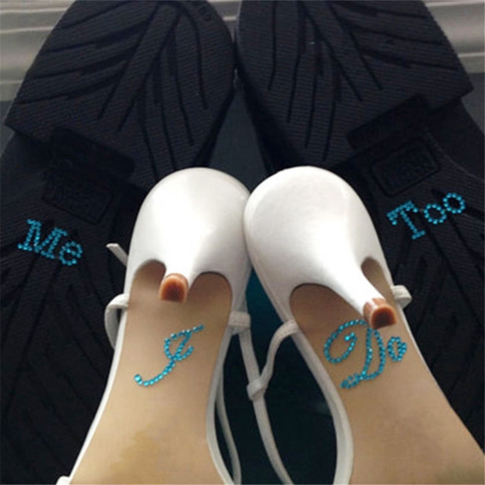 1 Set I Do Me Too Bridal Groom Acrylic Shoe Sticker White Clear Rhinestone  For Shoes Decoration For Wedding Decor-in Shoe Decorations from Shoes on ... 717a72c25164