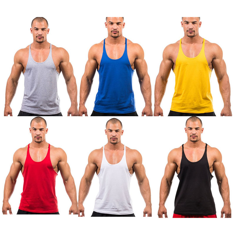 Men's Gym Stringer Workout Tshirt Bodybuilding Tank Top T-shirt Fitness Singlet Sleeveless