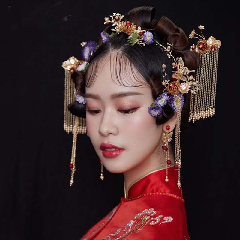 Jewelry-Sets Traditional Bridal-Headwear Crown Wedding-Hair Chinese-Style Phoenix Classic