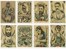 Vintage fryzjer tatuaże wzorzyste plakaty papier pakowy obraz do wystroju wnętrz przywracając naklejki ścienne do salonu fryzjerskiego dekoracji wnętrz tanie tanio LOSICOE Streszczenie Unframed Wodoodporny tusz Pojedyncze Malowanie natryskowe Poziome Prostokąt 42X30 CM 80 g Printing