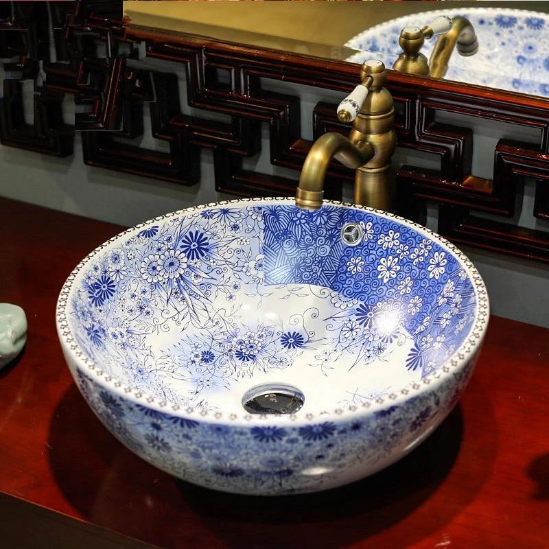 round handmade europe vintage style lavobo ceramic bathroom counter top bathroom sink ceramic basin bowl blue and white pattern