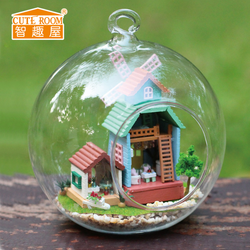 3D Handmade DIY Building Wood Puzzle Jigsaw Furniture Handcraft Miniature Box Kit with Cover LED Light Model Kids Toy B007