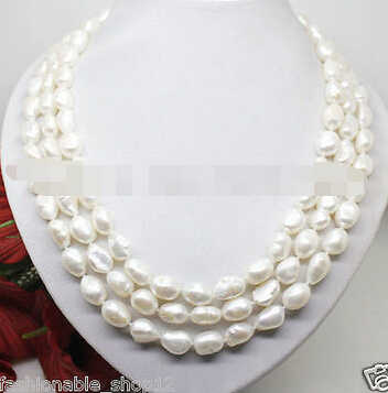 LL<<< 1281 Lnatural 7-8mm white pearl long necklace big baroque beads 100 inches