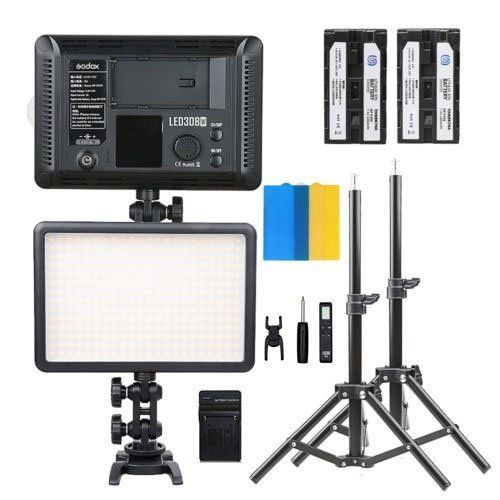 New Godox 2*LED308W Dimmable light LED Pro photography Studio Video LED +2* Light Stand +2*NP-F550 Battery +Charger kit godox professional led video light