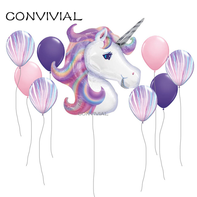 9Pcs Unicorn Party Balloon Birthday Decorations Kids Foil Balloons Wedding Anniversary Decor Rainbow Globos Party Supplies PA139