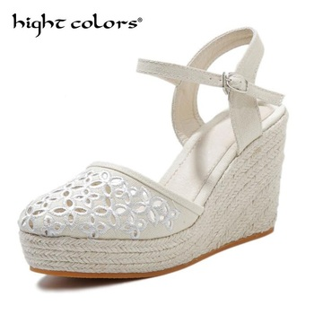 2020 Bohemian Platform Wedges Sandals Cover Heel High Heel Gladiator Sandals For Women Linen Bottom Embroidered