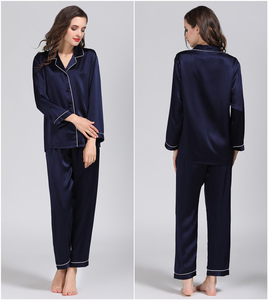 Image 2 - 100% Pure Zijde Vrouwen Klassieke Pyjama Set Nachtkleding Nachtjapon M L Xl YM007