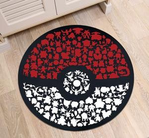 Image 2 - Pokemon Go Ball Circle Velboa Round Area Rug And Carpet for Home Living Room Memory Foam Bedroom Cushion Bathroom Floor Door Mat