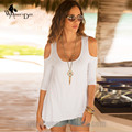 WomensDate 2016 New Fashion Women Loose Long Tee Shirt 3/4 Sleeve Shoulder Strapless Irregular T Shirt Camisetas Feminina