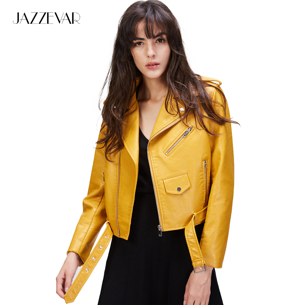 JAZZEVAR 2019 New Fashion Street Women's Short Washed PU   Leather   Jacket Zipper Bright Colors Ladies Jackets Good Quality 860202