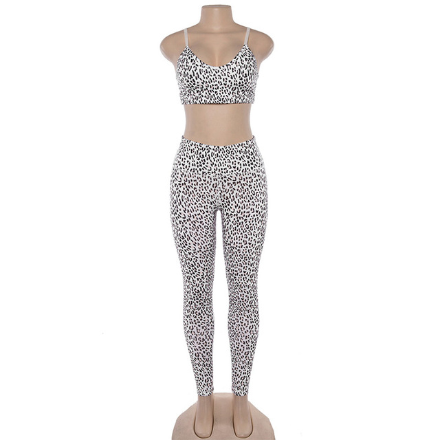 Female Yoga Sets Sportswear Tracksuit Workout Gym Wear Running Clothing Ensemble Women Sport Suit Sexy Fitness Leopard Print 4