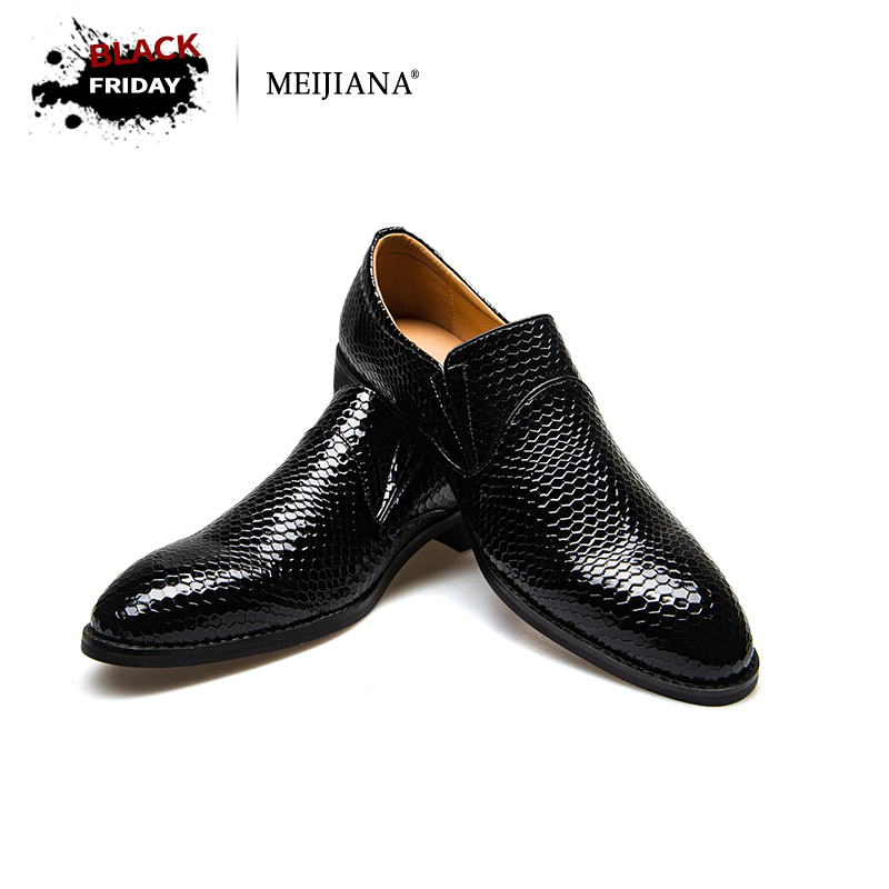 Meijiana Snake Leather Men Oxford Shoes Lace Up Casual Business Men Pointed Shoes Brand Men Wedding Men Dress Boat Shoes npezkgc brand high quality men oxford men leather dress shoes fashion business men shoes men dress pointed shoes wedding shoes