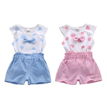 T-shirt Baby Girl Clothes Set Cartoon Bow T-shirt + Shorts Clothes For Girls Summer Tops Girls T-shirt Baby Clothes 2016 summer korean children s garment 2 pieces set new pattern girl baby bow leveret t shirt undershirt wave point shorts suit