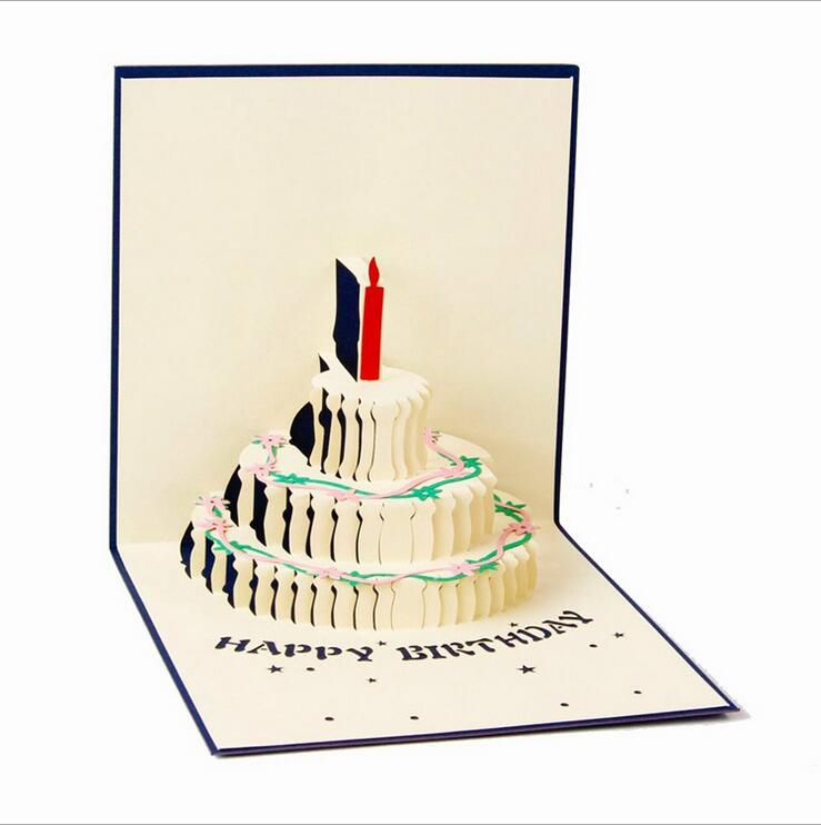 New 3d Cake Happy Birthday Pop Up Cards Wedding Gift Greeting Card