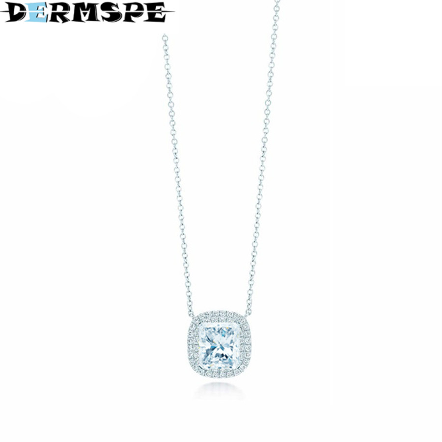 DERMSPE TIFF 925 Sterling Silver New 1:1 Genuine Zirconia Geometric Necklace Personality Zircon Necklace TIFF tiff 100