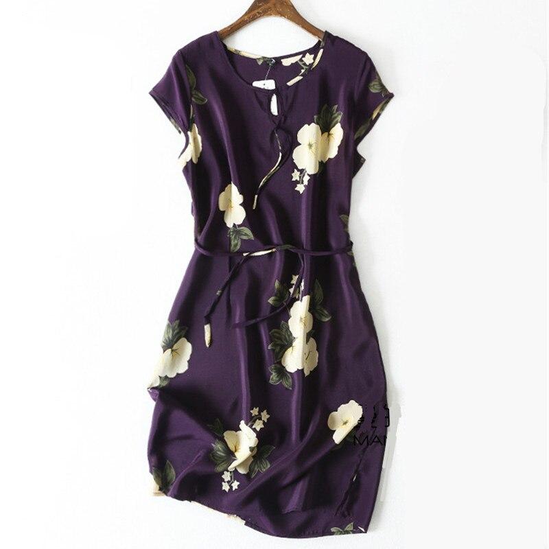 Femmes été robe en soie O cou imprimé Floral Vintage naturel robes en soie violet robe élégante grande taille grande taille vraie robe en soie