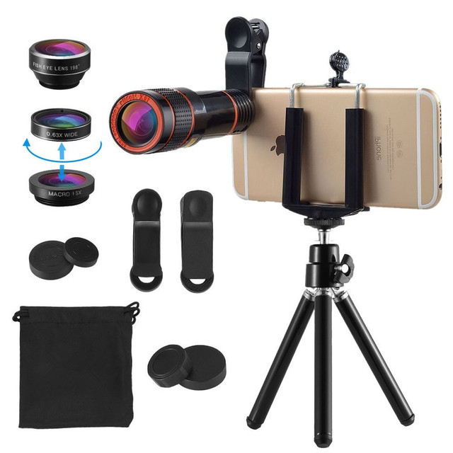 New 6in1 Phone Camera Lenses Kit 12x Telephoto Zoom Lens For Iphone