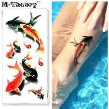 M-Theory Temporary 3D Tattoos Makeup Body Arts Fancy Carp Flash Tatoos Stickers 19x9cm Waterproof Bikini Swimsuit Makeup