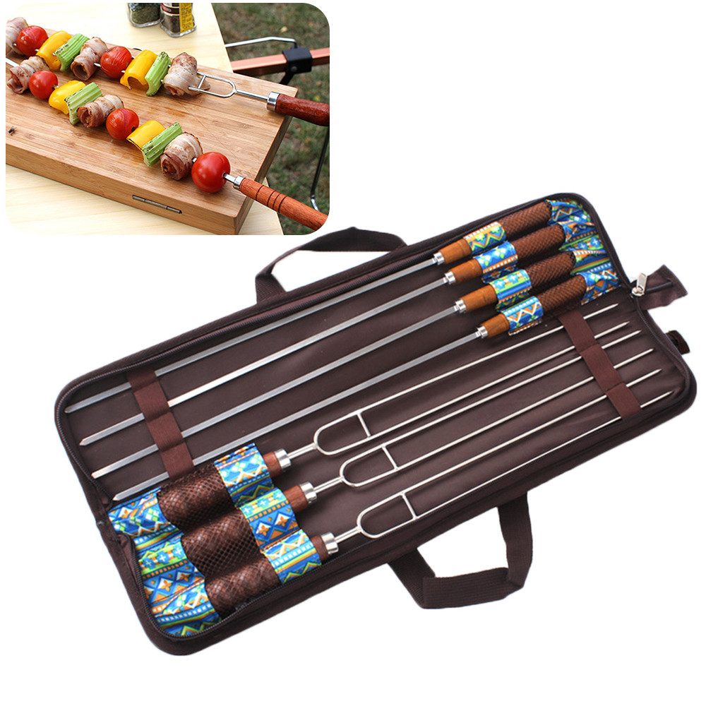 7pcs/Lot High Quality Stainless Steel BBQ Skewers Meat BBQ Needle Outdoor Barbecue Skewers Roasting BBQ Fork Sticks Flat