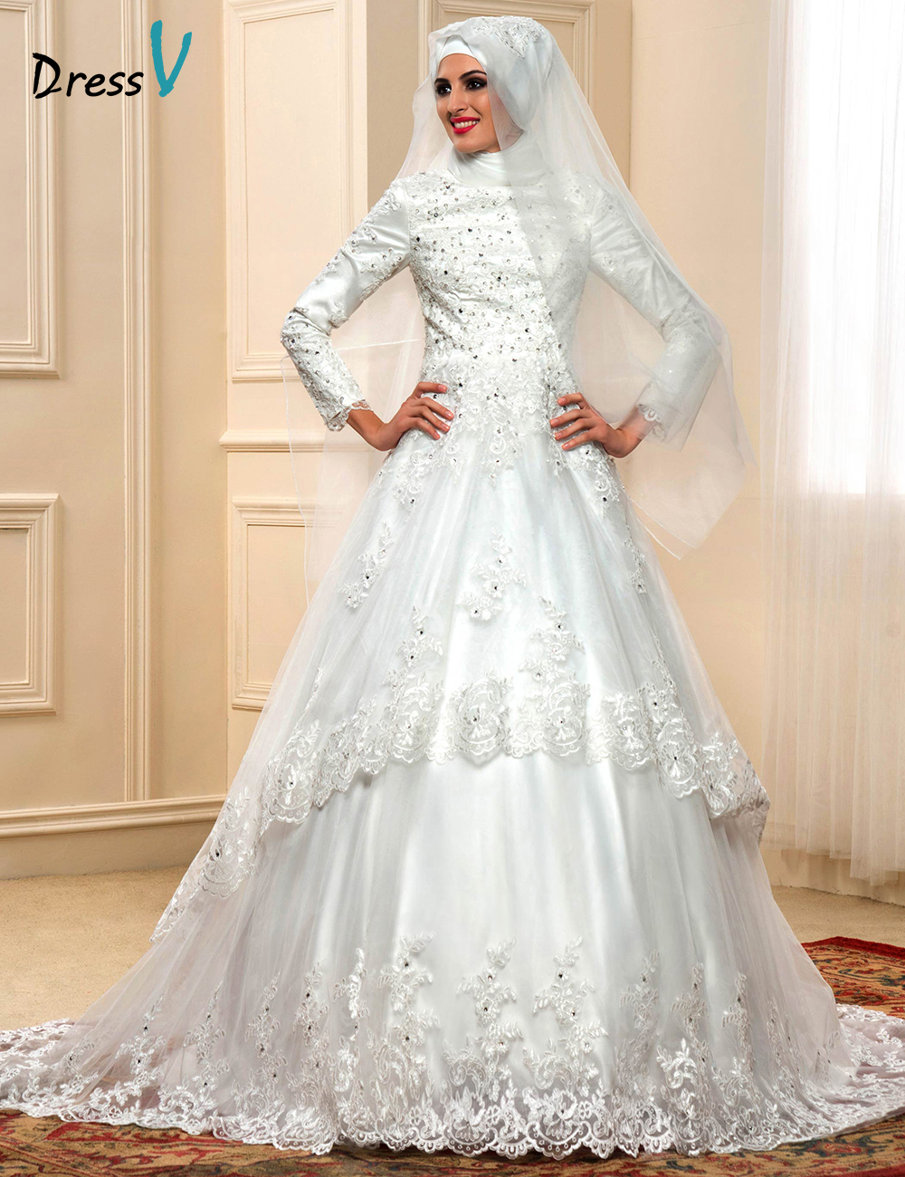 Elegant muslim turtleneck wedding dresses with long for Elegant long sleeve wedding dresses