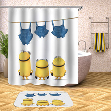 hot deal buy yellow shower curtains mischievous minions series shower curtains bath curtain polyester waterproof bathroom curtain grinch