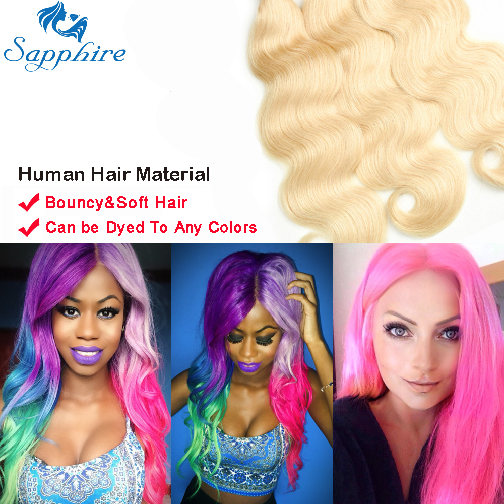 Sapphire Hair Extensions Body Wave 613 Bundles With Frontal Blonde Human Hair Bundles With Closure 3 Bundles With Lace Frontal