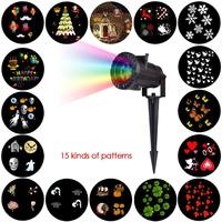 Christmas Halloween Holiday Party LED Waterproof Projector Light With 15 Replaceable Patterns J2Y