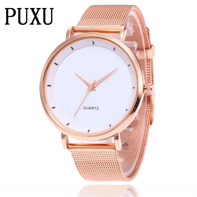 PUXU Ultra Thin Golden Steel Mesh Belt Watch Casual Women 1745c2ea165f