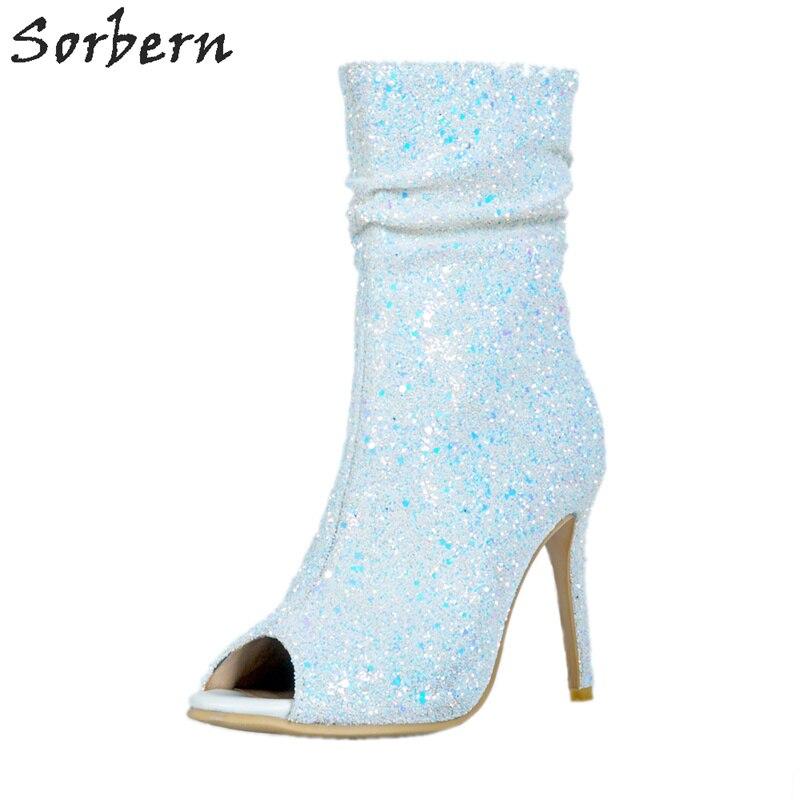 Color Talons Dames Ouvert Orteil Glissière Haute Fenty Hauts Blanc Chaussures blanc Bottes Cheville Pu Femmes Pour Custom 2018 Fétiche Sorbern Paillettes FxvZYwqFH