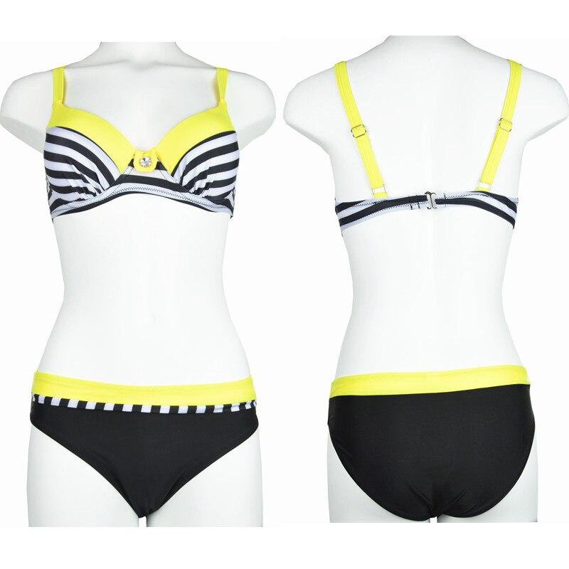 Large Size Striped Patchwork 2018 Women Push up Swimsuits Bikini set Sexy Retro Swimwear Female Bandage Biquini Bather Beachwear 2