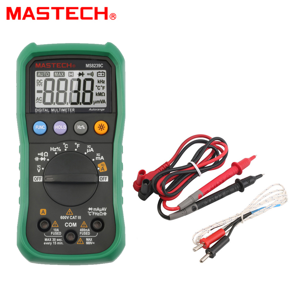 Digital Multimeter 3 3/4 MASTECH MS8239C AC DC Voltage Current Capacitance Frequency Temperature Tester Auto range multimetro