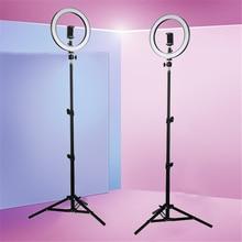 Кольцевой LED светильник для студийной видеоссветодиодный емки, лампа с регулируемой яркостью для фотосъемки и штатив для селфи/прямых трансляций, 10 дюймов