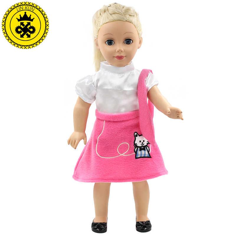 LIN KUN Bonecas Menina Camisa Branca Cor Rosa Pouco Gato Afortunado Padrão Saia Vestido Da Menina Da Boneca de 18 polegada MG159