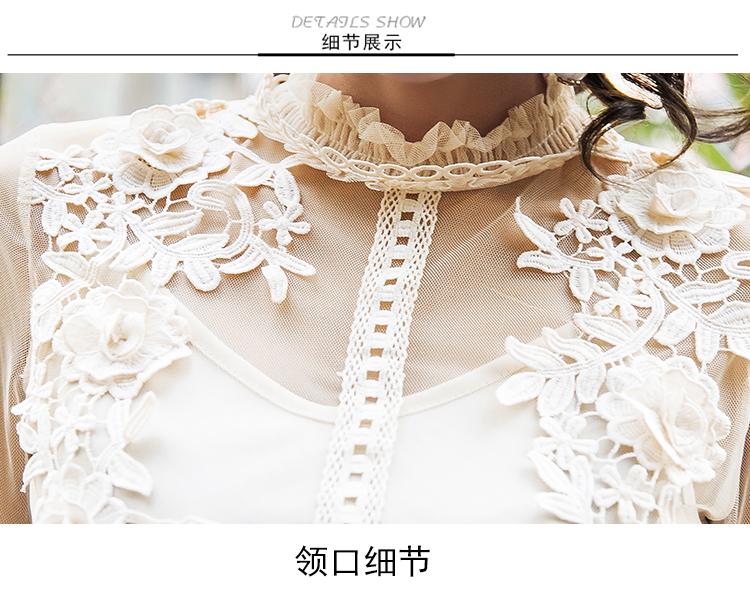 19 New Women Fashion Dress Stand Collar Lantern Sleeve Mesh Dress See-through Lace Embroidery Fairy Dress Femme Vestidos Robe 10