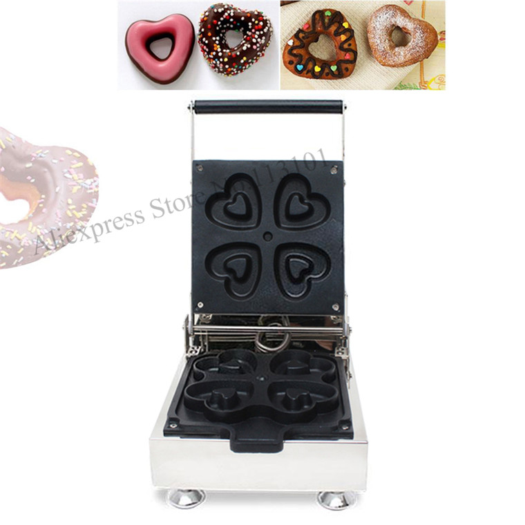 Sweet heart shaped donut machine stainless steel heart type donuts producer maker with 4pcs moulds automatic commercial plum donut baking machine cake sweet donuts maker