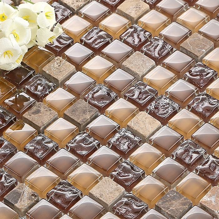 Brown Color Glass Mixed Gray Marble Stone Mosaic Square For Kitchen Backsplash Tile Bathroom Shower Mosaic Tiles Wall Cover