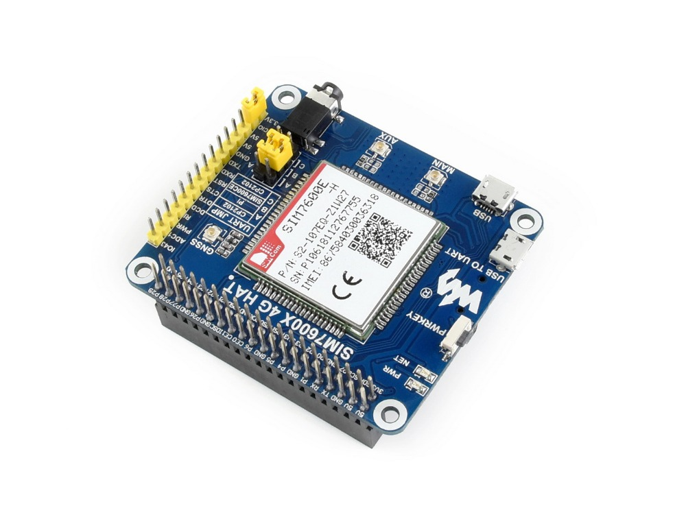 4G/3G/2G/GSM/GPRS/GNSS HAT for Raspberry Pi, Based on SIM7600E-H 4g 3g 2g gsm gprs gnss hat for raspberry pi raspberry pi zero zero w zero wh 2b 3b 3b based on sim7600e h support dial up