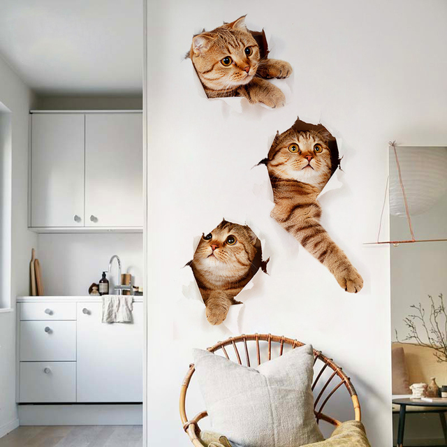3d tres del gato etiqueta de la pared tatuajes de ni os - Vinilos decorativos para salon ...