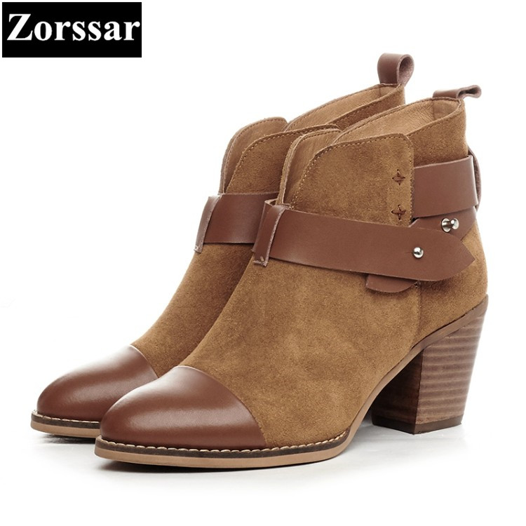 {Zorssar} 2017 NEW winter warm Female shoes fashion Vintage thick heels ankle boots cow suede High heels women short boots skullies beanies the new russian leather thick warm casual fashion female grass hat 93022