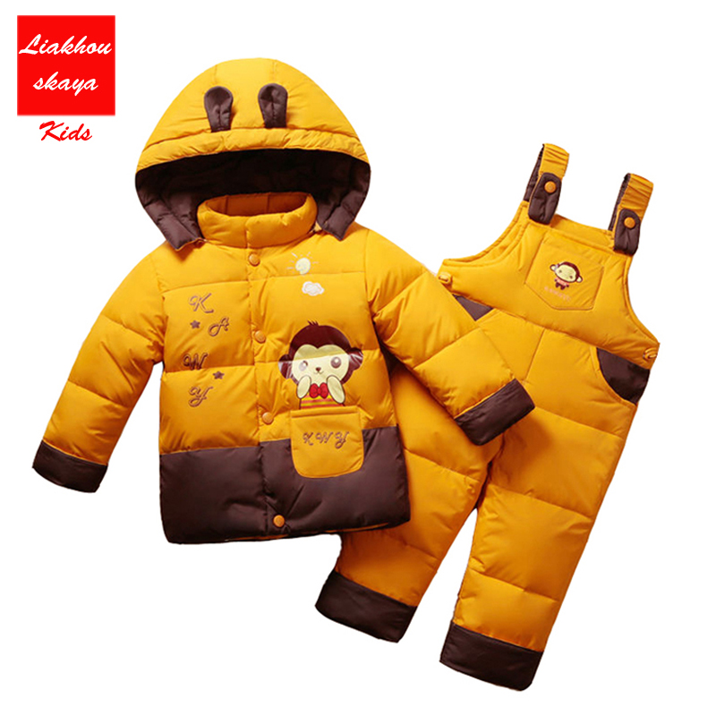 Russia Children Baby Boys Girls Winter Warm Down Jacket Suit Set Thick Coat+Jumpsuit Baby Clothes Set Kids Jacket Animal Horse russia winter boys girls down jacket boy girl warm thick duck down