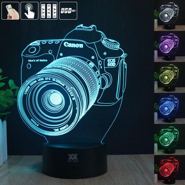 Câmera Canon Remoto 3D Luz Da Noite LEVOU candeeiro de Mesa de Toque HY Desk Lamp 7 Alterar Cor LED USB Carregador Multifunções Presente cartão