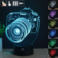 HY Canon Camera 3D Remote LED Night Light Touch Table Desk Lamp 7 Color Change USB LED Charger Gift Multifunction Card