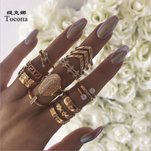 Tocona Boho 13 Pcs/set Virgin Mary Gold Rings for Women Hollow Geometric Flowers Crystal Stone Jewelry Wedding A20204