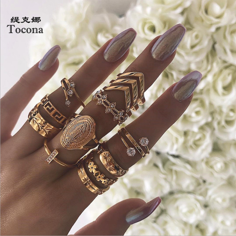Tocona Boho 13 Pcs/set Women Fashion Virgin Mary Geometric Flowers Leaf Gold Finger Rings Boho Charm Jewelry Accessories A20204