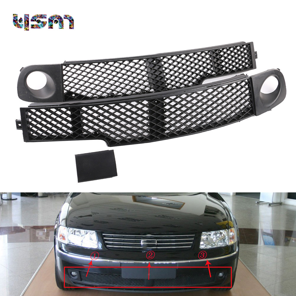 3Pcs Set Front Fog Light Lamp Bumper Grille Left Middle Right Trim Cover Cap For VW 1998 1999 2000 Passat B5 3BD853676 3BD853677 front lower left right bumper fog light grille cover fog light lamp kit set for honda accord 4door 1998 2002