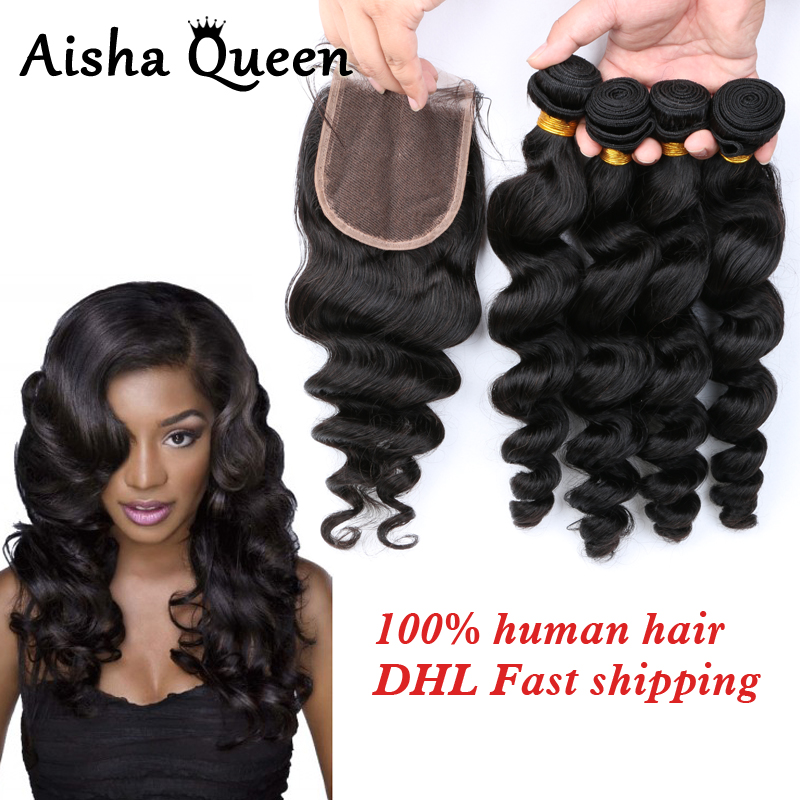 Aisha Queen Loose Wave Brazilian Human Hair 4 Bundles with 1 Lace Closure 4x4 Natural Black Remy Hair ...