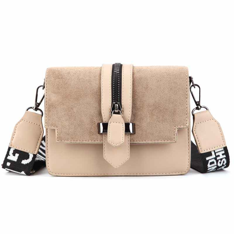 2019 new mini handbag women fashion ins ultra fire retro wide shoulder strap messenger bag with simple style Crossbody Bags