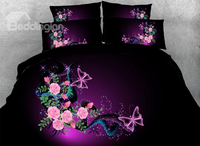 Butterflies and Pink Roses Printed Cotton 3D 3-Piece Bedding Sets/Duvet Covers