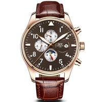 Carnival Mens Business Multifunction Dial Leather Watchband Automatic Mechanical Watch - gold bezel coffee dial