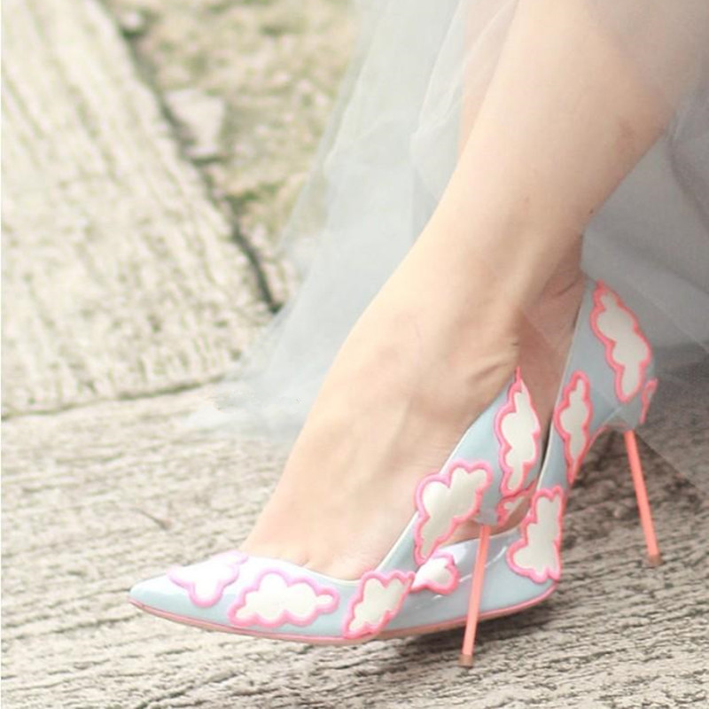 2017 New Spring Summer Shoes Woman Sweet Clouds Pumps Pointed Toe Shallow Slip On High Heels Pumps Mujer Designer Shoes Women new 2017 spring summer women shoes pointed toe high quality brand fashion womens flats ladies plus size 41 sweet flock t179